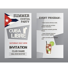 Summer cocktail party flyer layout template with vector image vector image
