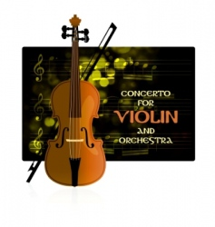 Violin with notes and bow vector
