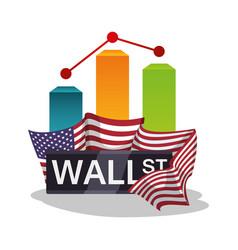 Wall street new york chart graph flag usa vector