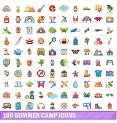 100 summer camp icons set cartoon style vector image vector image