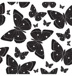 Elegant black butterfly seamless pattern sketch vector image