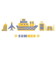Summer cruise in europe symbols set by five in vector
