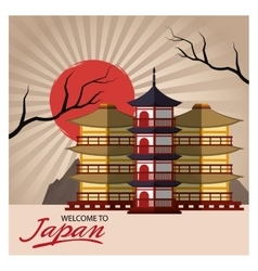 Building and architecture of japan design vector