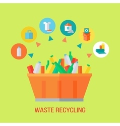 Waste recycling process rubbish bin vector