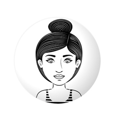 Sphere half body woman with collected hair vector