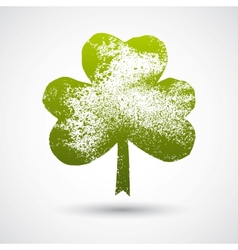 Grunge leaf clover on a white background vector image