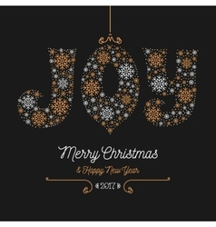 Joy lettering of snowflakes merry christmas happy vector