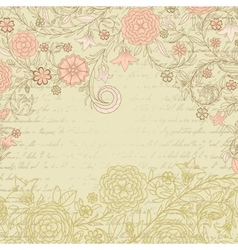 Vintage grungy background with flowers and letter vector