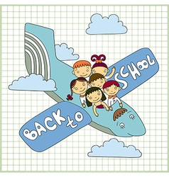 Group of schoolchildren fly in an airplane vector