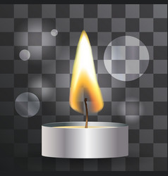 Realistic flame tea candle on transparent vector