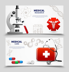 Medical research banners set vector