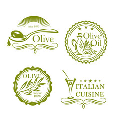 olives olive oil isolated label icons set vector image