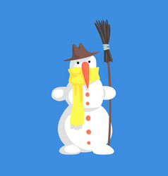 Alive classic three snowball snowman in hat and vector