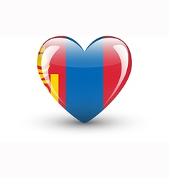 Heart-shaped icon with national flag of mongolia vector