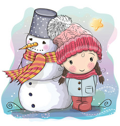 Cute girl and snowman vector