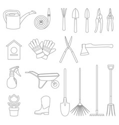 Set of various gardening items and garden vector