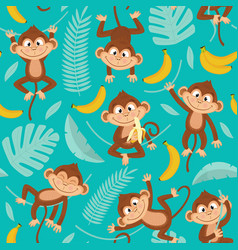 Seamless pattern with monkey on blue background vector