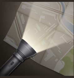 turned on flashlight vector image
