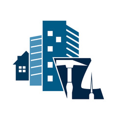 Construction of houses symbol vector