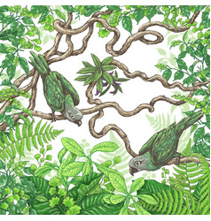Green parrots sitting on branches vector
