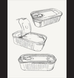opened and closed food tin cans sketch vector image