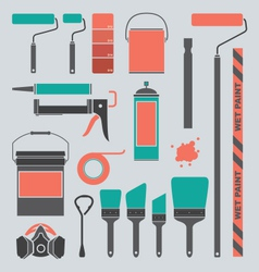 Retro painting supplies silhouettes and icons vector