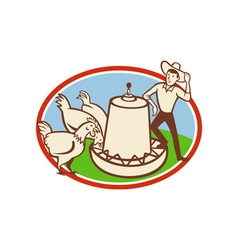 Chicken farmer feeder cartoon vector