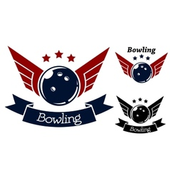 Bowling symbols with wings vector