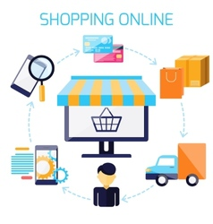Infographic of sequence for online shopping vector