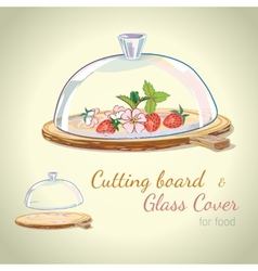 Hand-drawn cutting board and glass cover vector