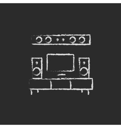 TV flat screen and home theater icon drawn in vector image