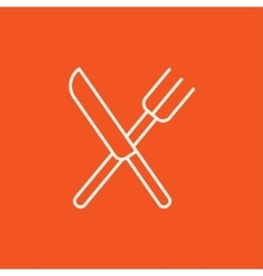 Knife and fork line icon vector