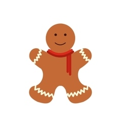 Christmas gingerbread man flat icon vector