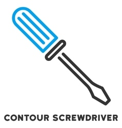 Contour screwdriver flat icon with caption vector