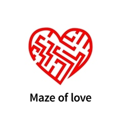 Maze of love red sign on white vector