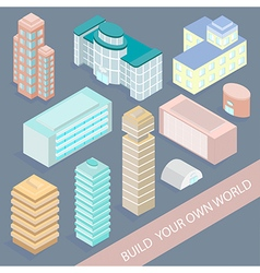 Set of urban architectural buildings in isometric vector