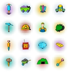 Mining industry icons set comics style vector