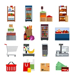 Supermarket decorative flat icons set vector