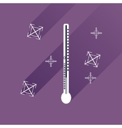 Flat icon with long shadow thermometer and vector