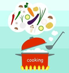 Cooking vegetables soup with pot vector