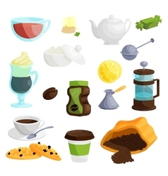 Tea and coffee icons set cartoon style vector