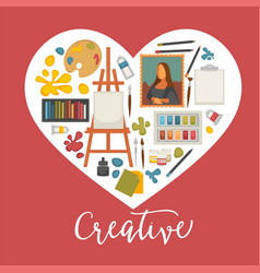 Artist painting tools and artistic materials icons vector