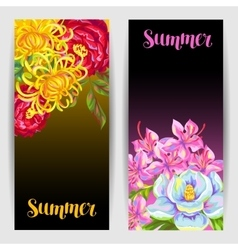 Banners set with China flowers Bright buds of vector image vector image
