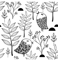 Black and white endless pattern with doodle birds vector