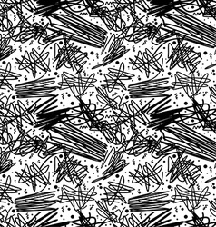 Black and white pattern in 80s style with doodles vector