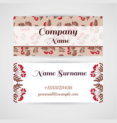 business card red berries vector image vector image