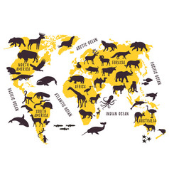 Cartoon world map with animals silhouettes for vector