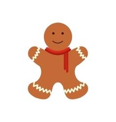 Christmas gingerbread man flat icon vector image vector image