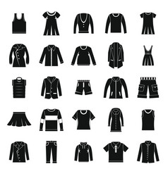 Clothes icons set in silhouette style vector