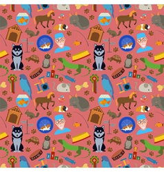Domestic pets background pattern vector